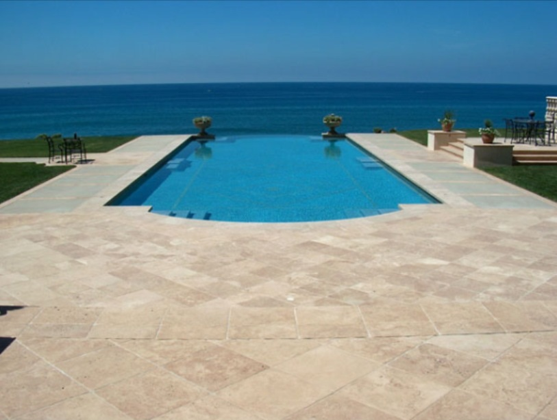 Ivory Travertine pavers unfilled and tumbled