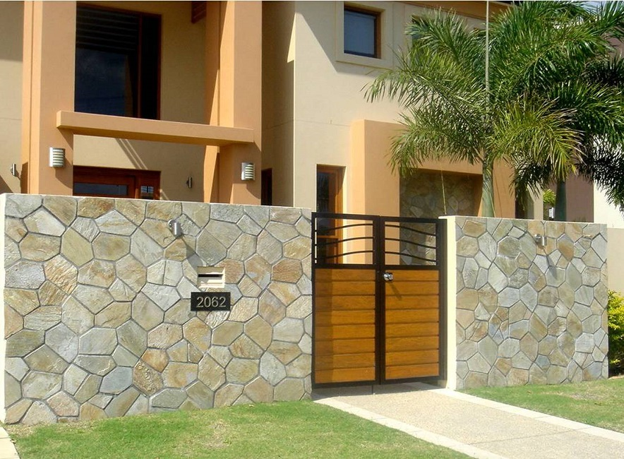 Marble Wall Cladding Services : Random stone wall brazil on mesh travertine sydney