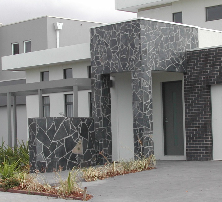Marble Wall Cladding Services : Random stone wall graphite grey travertine sydney